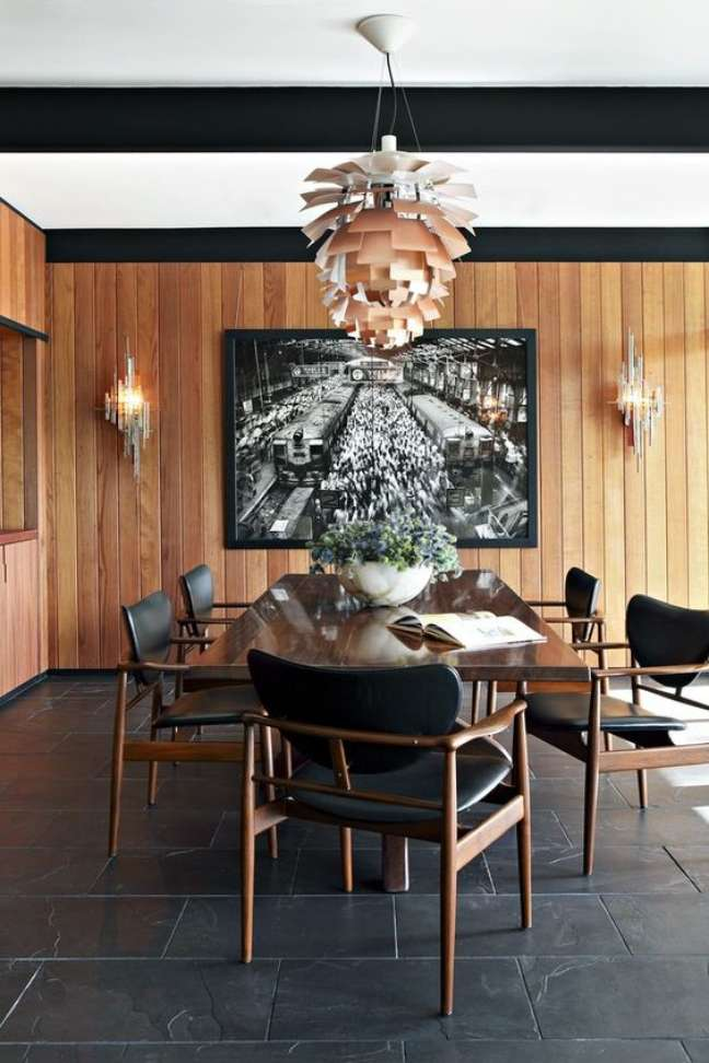 2. Piso de ardósia preta para sala de jantar moderna – Foto Casa Vogue