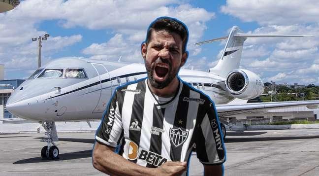 Aeronave do dono da CNN chamouaatenção de quem aguardava a chegada de Diego Costa em BH