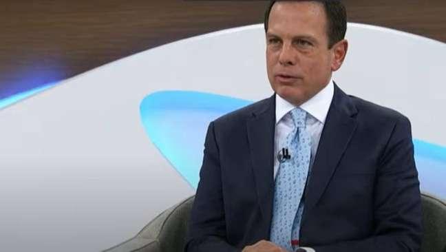 O governador João Doria duranteprograma Roda Viva, da TV Cultura