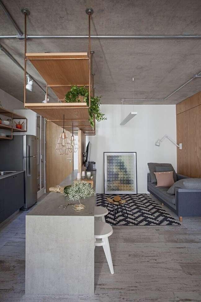 43. Decoração em estilo industrial para cozinha aberta com sala de estar – Foto: ArchDaily