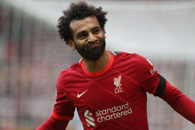 Salah durante o último jogo do Liverpool pelo Campeonato Inglês