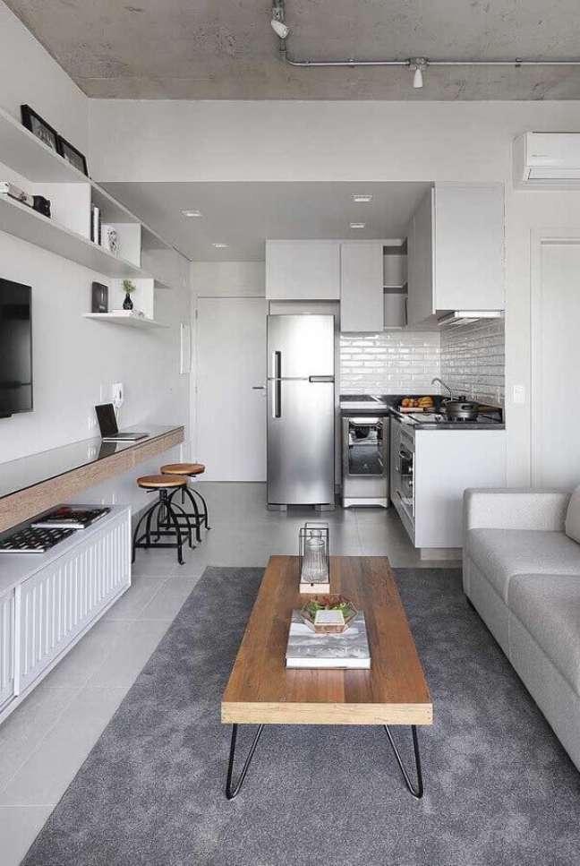 60. Tons de cinza para decoração de cozinha aberta com sala de apartamento pequeno – Foto: Home Fashion Trend