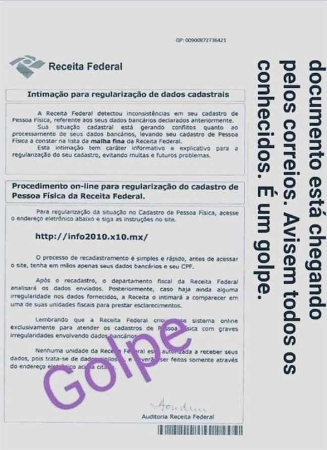 Exemplo de carta falsa enviada por Correios por golpistas / Imagem: Receita Federal