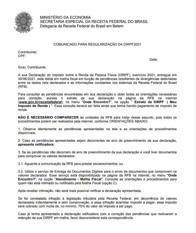 Exemplo de carta oficial enviada pela Receita Federal em julho / Crédito: Ministério da Economia