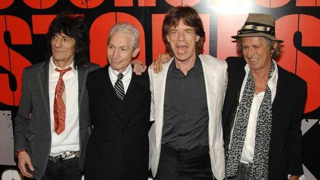 Ronnie Wood, Charlie Watts, Mick Jagger e Keith Richards juntos em Nova York. Shutterstock