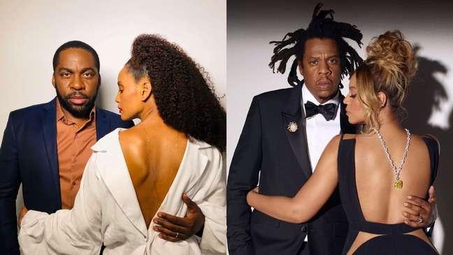 Taís e Lázaro foram comparados com Beyoncé e Jay-Z após a foto original bombar na web.