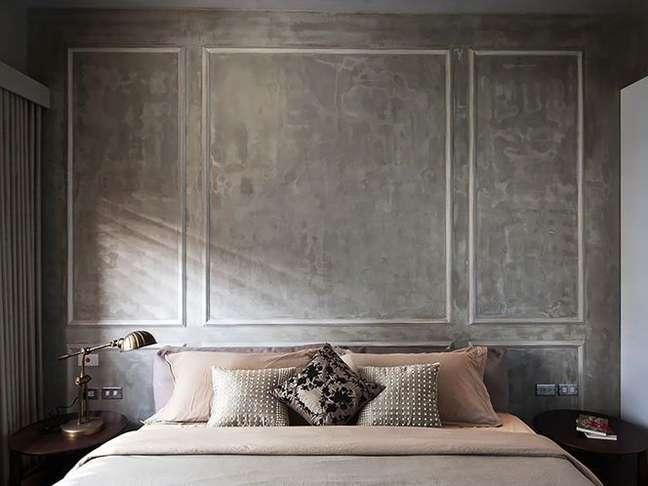 9. Quarto com moldura e parede cimento queimado – Foto Renessans Decor