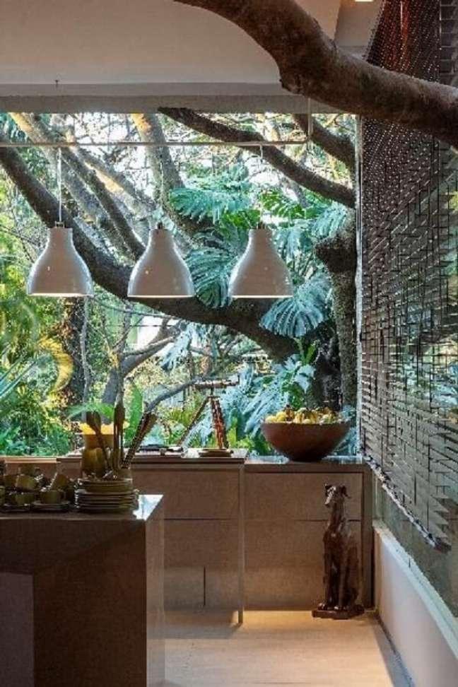 23. Deixe as plantas para cozinha feng shui invadirem a decoração. Projeto de Luis Fabio Rezende de Araújo