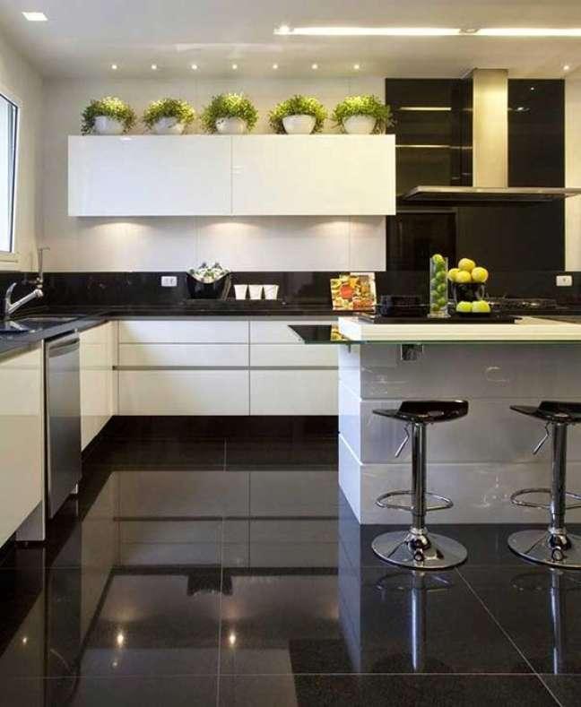 10. Porcelanato para cozinha preta e branca com ilha gourmet e banquetas modernas – Foto Sua Decoração