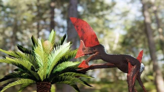 Imagem artística de como teria sido o pterossauro encontrado no Nordeste e agora apresentado na revista científica PLOS ONE