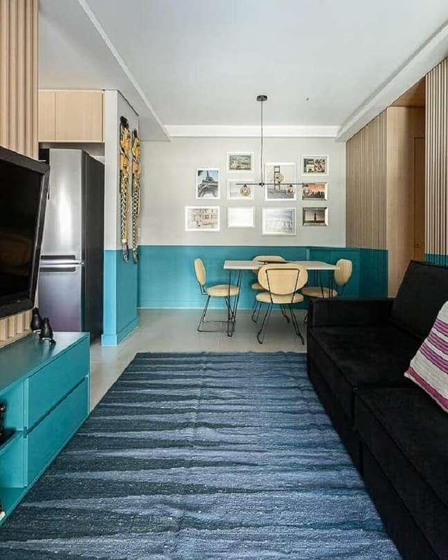 31. Cores para sala pequena de apartamento decorado com ambientes integrados – Foto: Lucilla Mesquita