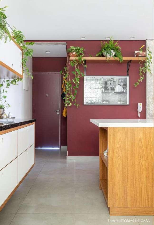 4. Parede cor vinho na cozinha moderna decorada com plantas – Foto Histórias de Casa