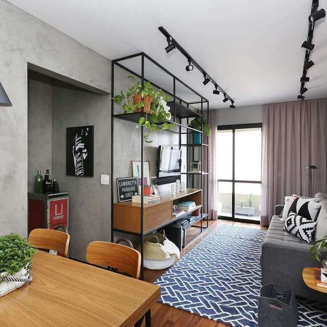 5. Cores para sala pequena decorada com estilo industrial – Foto: Mandril Arquitetura
