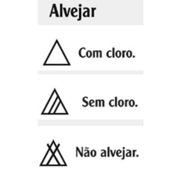 Símbolos que indicam como deve ser feita a etapa de alvejar (Foto / Divulgação / Quality Lavanderia)