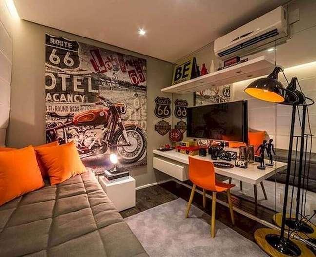61. Tons de cinza para decoração de quarto masculino pequeno moderno Foto Claudia Albertini Arquitetura