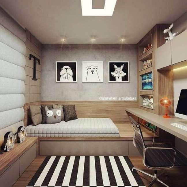 4. Móveis planejados para quarto masculino moderno pequeno decorado com parede de cimento queimado – Foto: Arquiteta Alana Heil