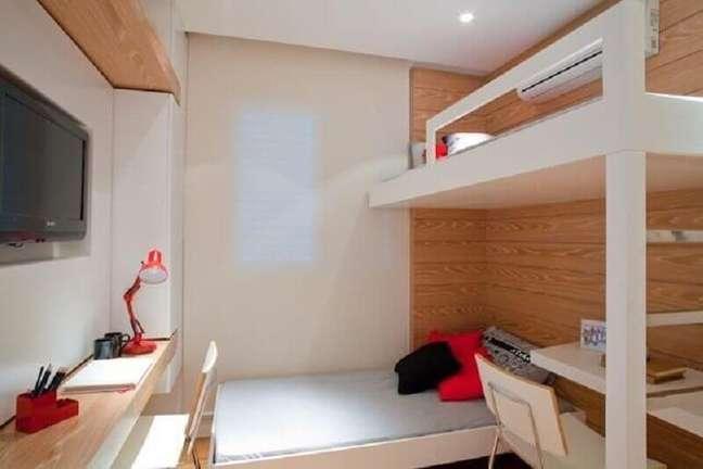 12. Cores claras para decoração de quarto masculino pequeno com cama suspensa – Foto: Studio Scatena Arquitetura