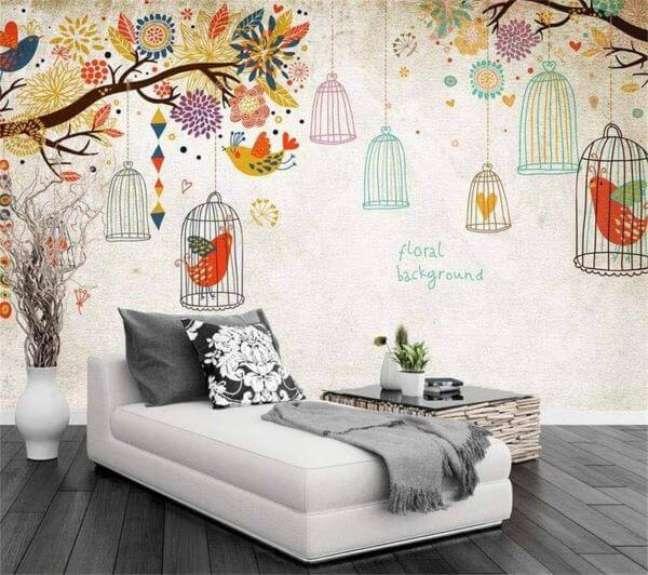 24. Cantinho de leitura com almofadas grandes e papel de parede colorido Foto AliExpress