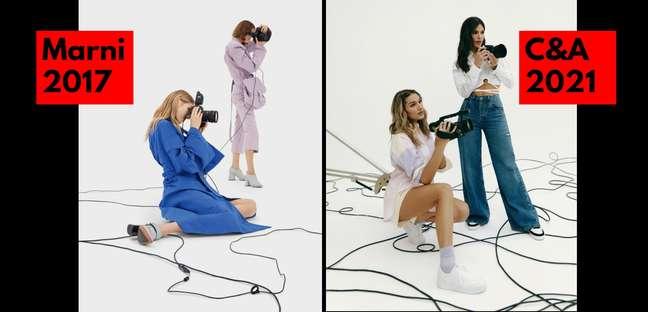As fotos parecem da mesma campanha, mas são de marcas diferentes e têm 4 anos de diferença