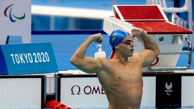 Gabriel Bandeira foi destaque do revezamento 4x100m misto S12 (Foto: Miriam Jeske/CPB)