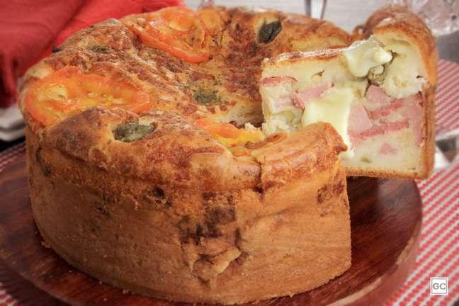 Guia da Cozinha - Torta-pizza de presunto e calabresa saborosa