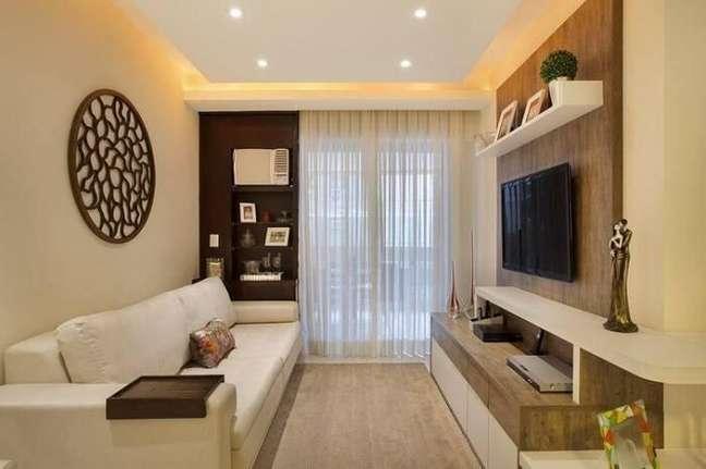 59. Decoração clean com móveis planejados sala pequena. Projeto de Mayara Márcia