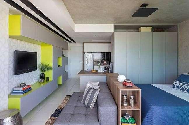 49. Modelo de sala planejada pequena e simples para uma kitnet. Projeto de Bep Arquitetos
