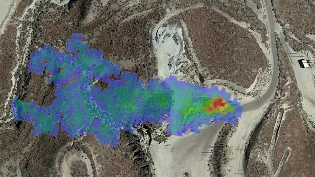 Pluma de metano detectada pela Nasa no verão de 2020, identificada como um vazamento de gás na Califórnia. O operador conseguiu confirmar e reparar o vazamento