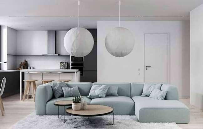 51. Tipos de sofás modular para decoração de sala minimalista integrada com a cozinha – Foto: Home Fashion Trend