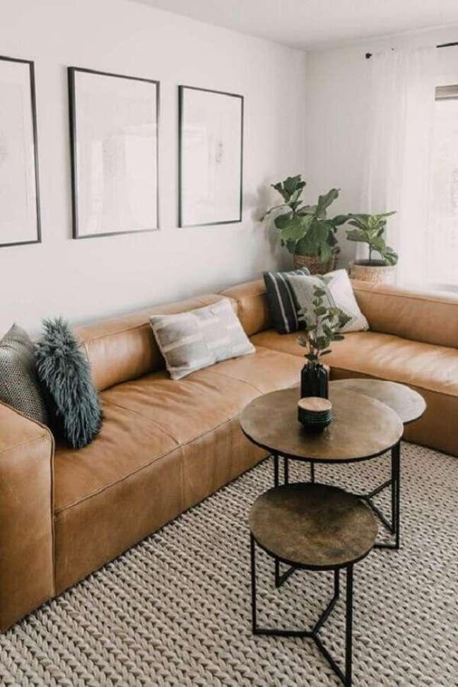 23. Tipos de sofá de canto para decoração de sala com tapete de crochê – Foto: Article