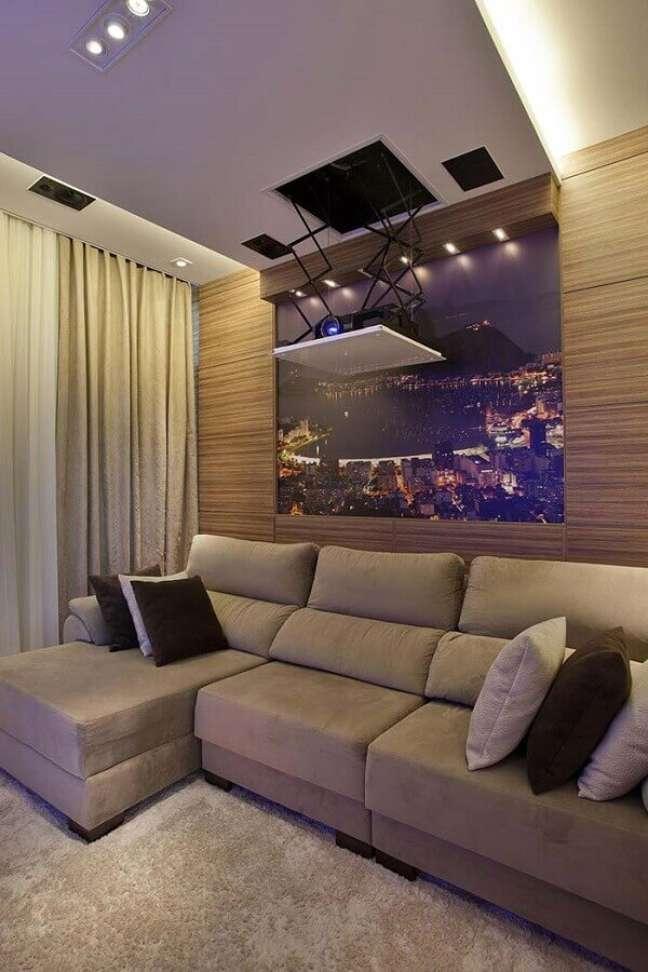 28. Tipos de sofá retrátil para decoração de sala de TV bege – Foto: Homify