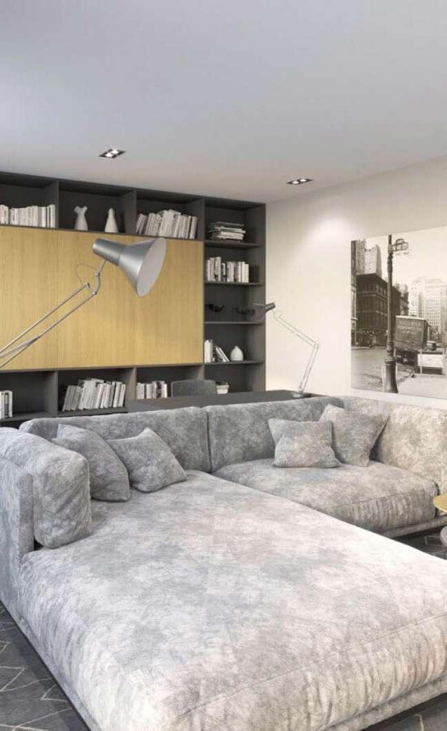31. Tipos de sofás cinza grande para decoração de sala de estar moderna – Foto: Decor Fácil
