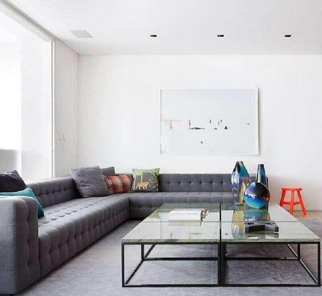 36. Tipos de sofás de canto grande para decoração de sala minimalista – Foto: Suite Arquitetos