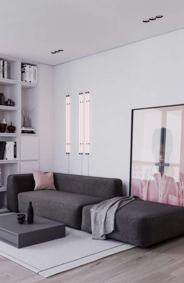 32. Tipos de sofás cinza modular para decoração e sala de estar branca moderna – Foto: Futurist Architecture