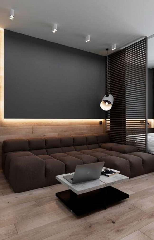 50. Tipos de sofás modular para decoração de sala cinza moderna – Foto: Home Fashion Trend