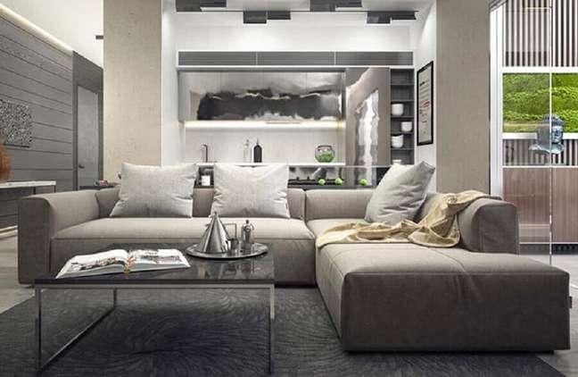 15. Tipos de sofá modular para decoração de sala em tons de cinza – Foto: Decor Fácil
