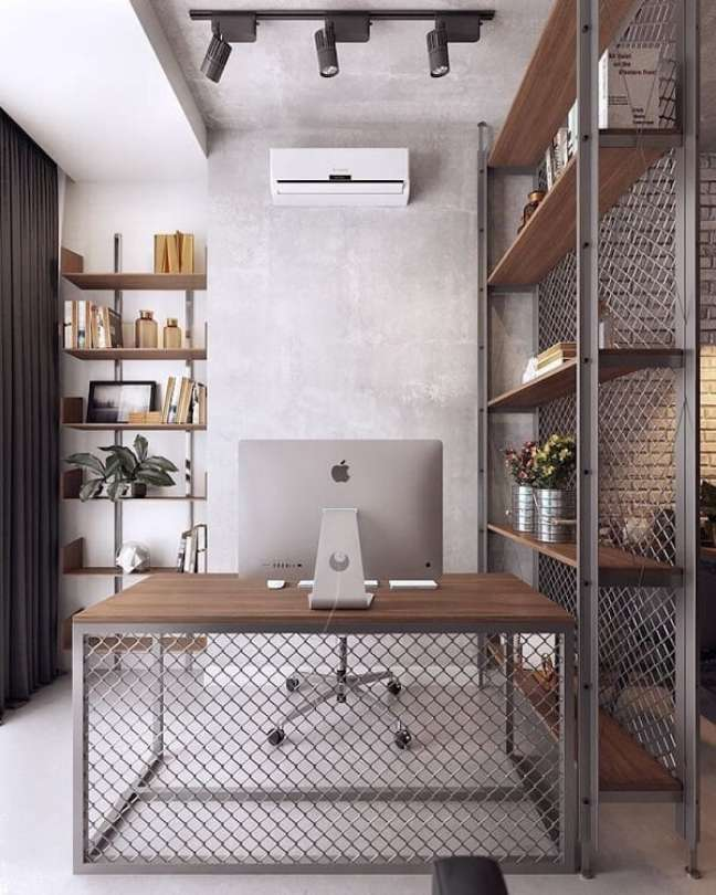 3. Escritório pequeno com decoração industrial. Foto: Aytsh Store