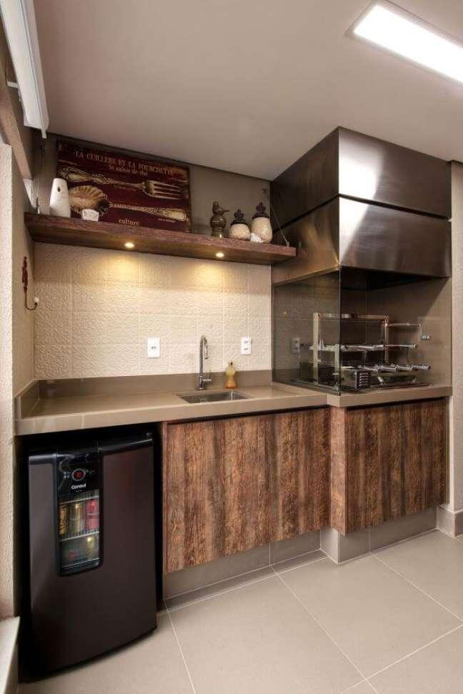 61. Área de churrasqueira com bancada de quartzo bege – Foto 2MArquietura e Interiores