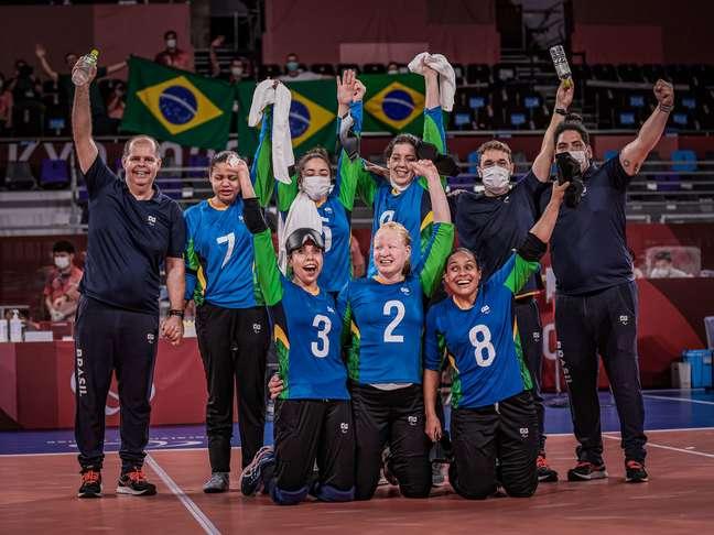 Seleção feminina de goalball comemora vitória nesta quarta-feira na Paralimpíada Wander Roberto CPB
