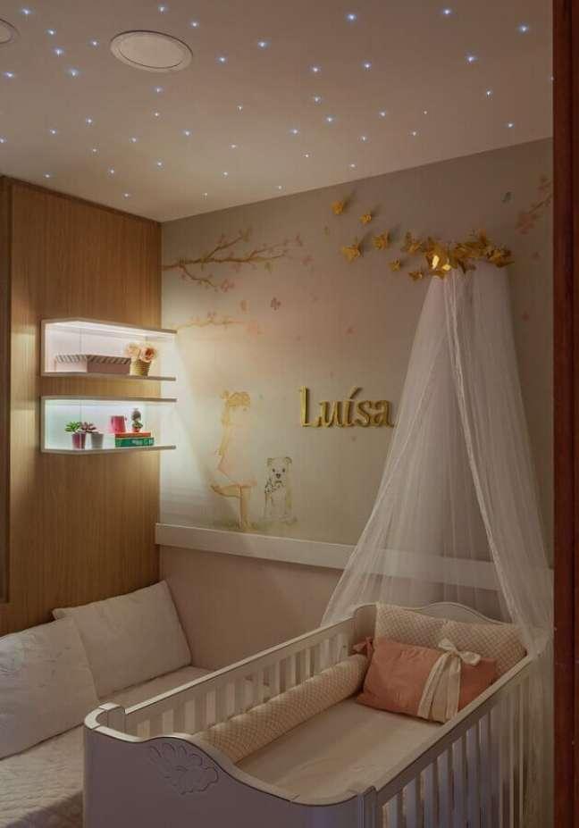 45. Dossel de parede para decoração de quarto de bebe feminino – Foto: Barbara Botelho Arquitetura e Interiores