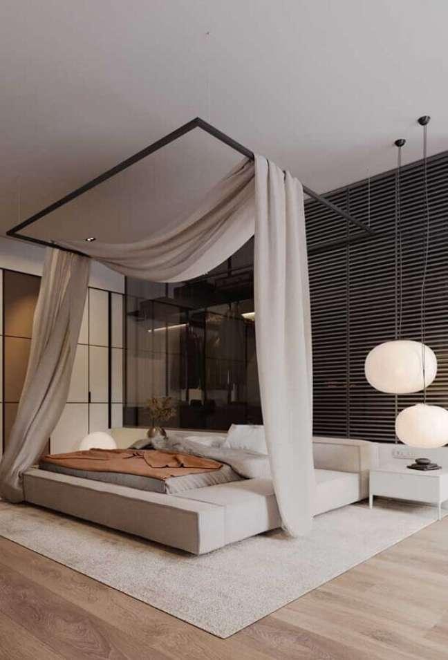 38. Decoração moderna para quarto de casal com dossel de teto – Foto: Futurist Architecture