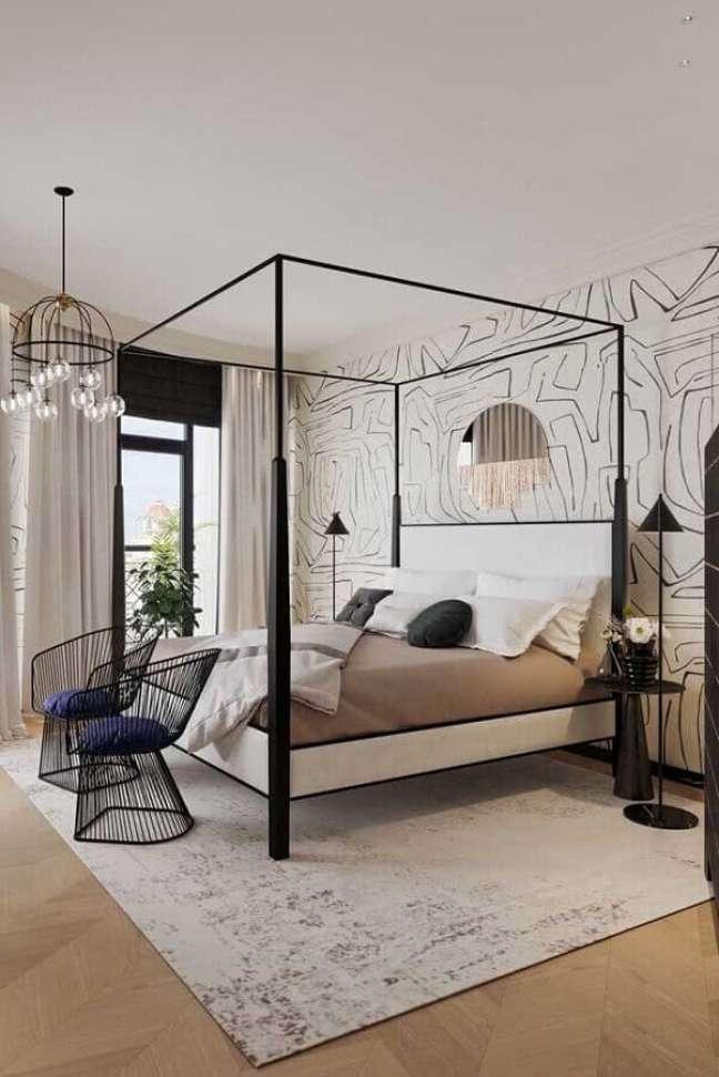 50. Poltrona moderna para quarto de casal decorado com cama com dossel – Foto: Behance