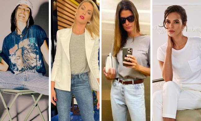 Famosas com camisetas básicas (Fotos: Reprodução/Instagram)
