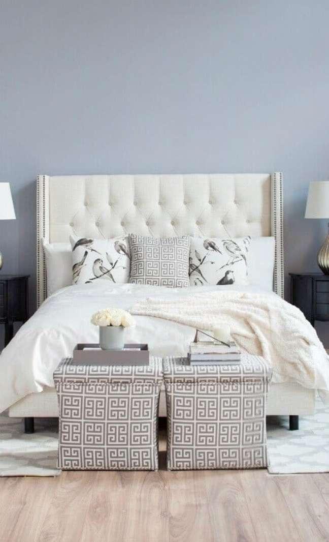 20. Cabeceira de camas box casal capitonê para quarto com decoração clássica – Foto: Decor Fácil