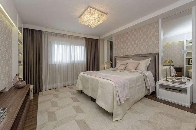 21. Cabeceira de camas box casal para quarto clássico decorado em cores neutras – Foto: Espaço do Traço Arquitetura