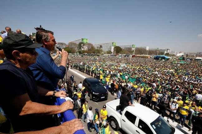 Presidente Jair Bolsonaro discursa para apoiadores em Brasília 07/09/2021 Alan Santos/Presidência/Divulgação via REUTERS