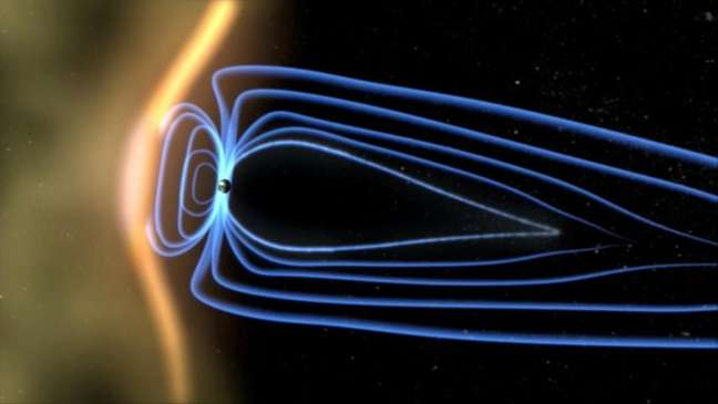 Representação artística de como o campo magnético da Terra protege o planeta dos ventos solares