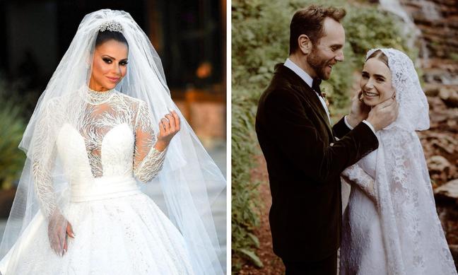 Vivi Araújo e Lily Collins de noiva (Fotos: Reprodução/Instagram)