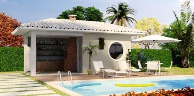 22. Projeto de casa com edícula simples e piscina. Fonte: Habitissimo