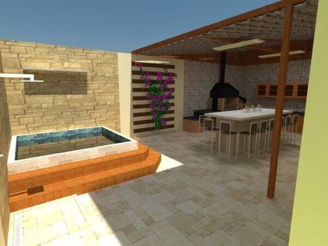 24. Projeto 3D de edícula com churrasqueira simples e piscina. Fonte: Mayline Mendes